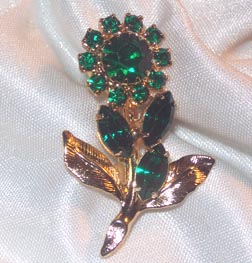 Goldtone/Green Rhinestones Flower Pin