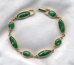 Goldtone/Green Cabs Bracelet - GB