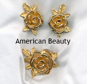 AMERICAN BEAUTY Set - Pre-1965 - Pin & Earrings available