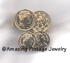 SCARF-KEEPER goldtone coins