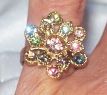 Multi Rhinestone Flower RIng