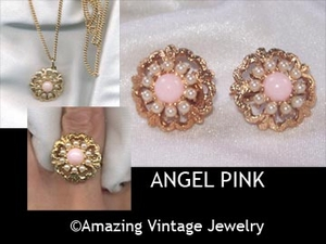 ANGEL PINK Set -  1973 -  Necklace & Earrings available
