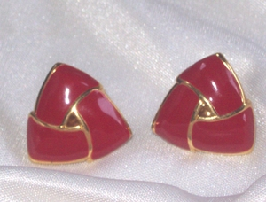 MONET Goldtone/Dark Red Clip Earrings