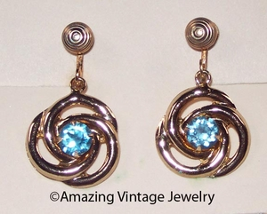 AQUA SWIRL Earrings  - Screwback