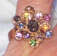 Multi Colored Rhinestones Ring