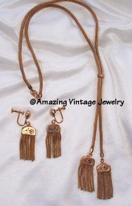 SARAH COVENTRY Goldtone Fringe Necklace & Earrings
