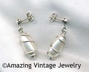 CAGED PEARL Earrings - Pierced Silvertone