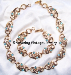 SARAH COVENTRY Goldtone Set w/Lt Blue RS