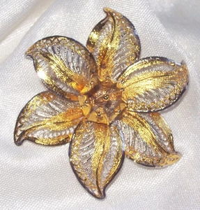 Goldtone Filigree Flower Pin