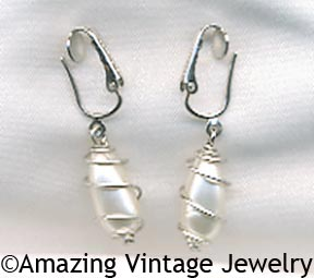 CAGED PEARL Earrings - Silvertone Clip