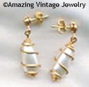 CAGED PEARL Earrings - Pierced Goldtone