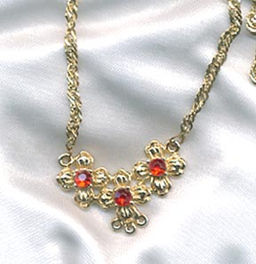 Goldtone/Red RS Necklace