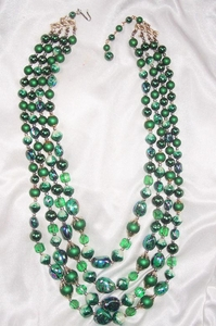 Four-Strand Green Beaded Necklace