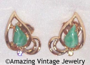 WHISPERING LEAVES Earrings - Green Insets