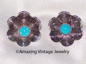 BLUE BUTTERCUP Pierced Earrings