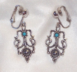 Avon Earrings - Hematite/Turq