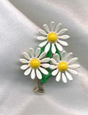 White/Yellow Enamel Daisies Pin