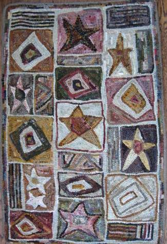Stars and Squares by Marijo Taylor-Pattern Only or Complete Rug Hooking Kit
