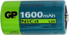 2 pack of c cell nicd 1600 rechargeable batteries
