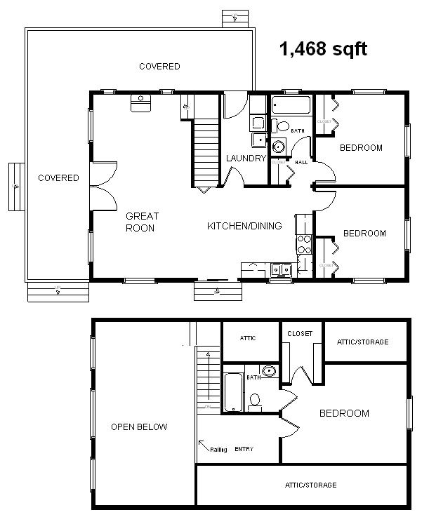 24x40 Country Classic 3 Bedroom 2 Bath Cabin wLoft Plans – Cabin Plumbing Plans