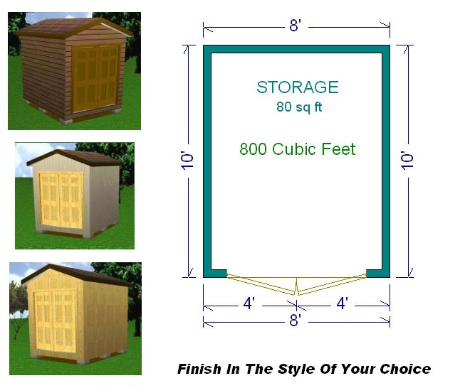 8x10 Storage Shed Plans Package Blueprints Material List