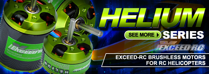 Helium Brushless Series designed for Trex 250 to 450 to 500 and beyond!