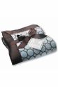Swaddle Designs Stroller Blanket, Fuzzy Pastel Blue with Brown Mod Circles