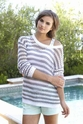 "PJ Salvage ""Power Pastels"" Grey Striped Sweater"