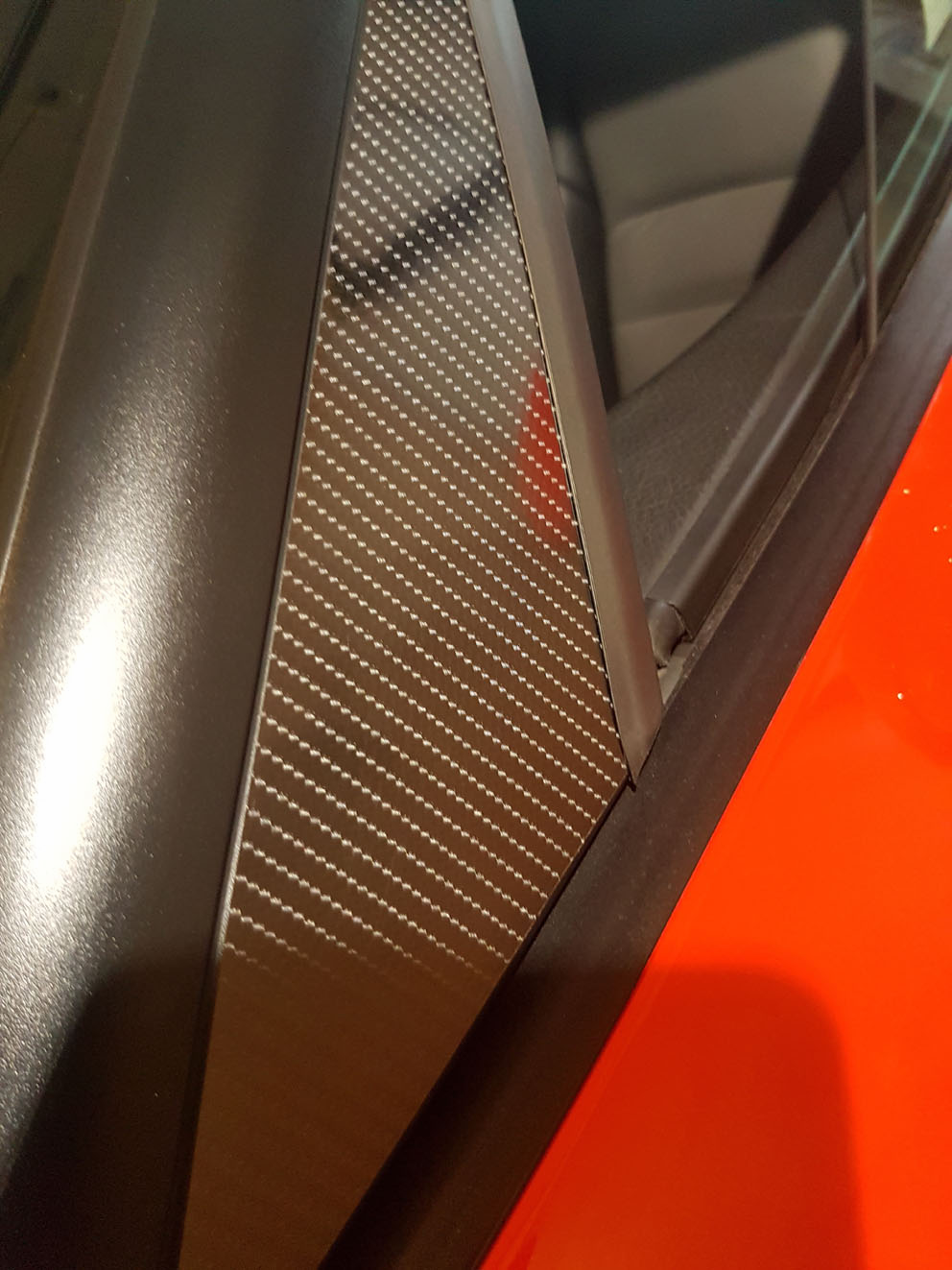 Simulated Carbon Fiber A Pillar Overlay For C6 Base,  ZR1, Z06 & Grandsport