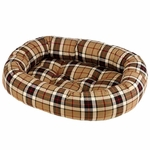 Bowsers Donut Dog Bed-Brown Plaid