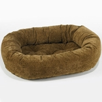 Bowsers Microvelvet Donut Dog Bed-Pecan Filigree