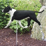 Am. Staffordshire Terrier (natural) Garden Stake-Black-White