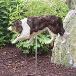 Border Collie Garden Stake-Red Merle