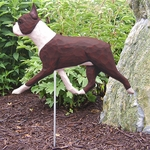 Boston Terrier Garden Stake-Red