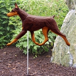 Doberman Garden Stake-Red-Tan