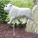 English Bulldog Garden Stake-White