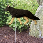 German Shepherd Garden Stake-Black w- Tan Points