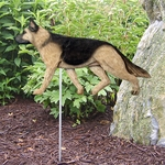 German Shepherd Garden Stake-Tan w- Black Saddle