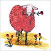 Lovable Ewe Blank Note Card (Red)