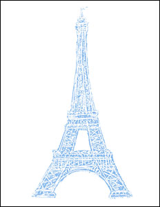 Eiffel Tower Stamp Motif Note Cards