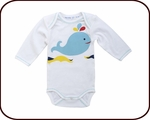 Organic Long-Sleeved Whale Onesie