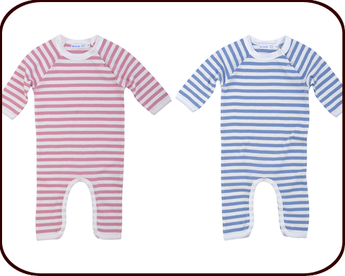 Organic Romper (blue or pink stripes)
