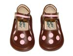 Itzy Bitzy Dottie girls shoes brown mary jane shoe with polka dots  and a rubber sole.