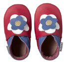 Bobux very soft raspberry with flower leather shoes.