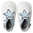 Bobux very soft white with blue baby star leather shoes.