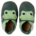 Bobux very soft forest green leather shoes  with a frog.