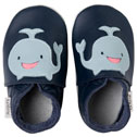 Bobux very soft navy leather shoes  with a whale.