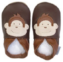 Bobux very soft chocolate leather shoes  with a monkey.