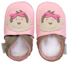 Bobux very soft pink leather shoes with monkey.