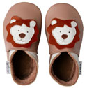 Bobux very soft mocha leather shoes with lion.